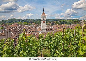 Summer in Schaffhausen - Famous old city Schaffhausen,...