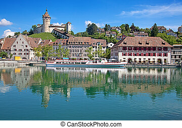 Summer in Schaffhausen - View on Rhine river and famous...