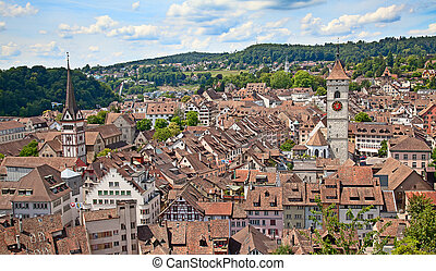 Summer in Schaffhausen - View on Schaffhausen old city,...