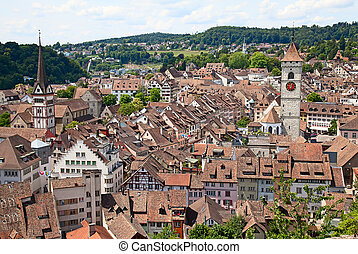 Summer in Schaffhausen - View on Schaffhausen old town,...