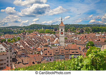 Summer in Schaffhausen - View on the old town from famous...