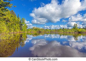 Summer in Siberia. Chet river in the Tomsk region.