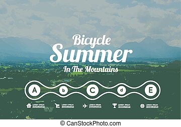 Bicycle summer in the mountains. Vector infographics