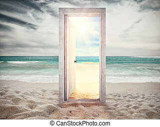 Summer is coming and the holidays begin. - Door on the beach...