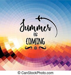 Summer Is Coming Background. Summer Travel Rest Concept Vector