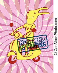 Summer is coming. Typographical retro grunge summer poster. Funny cartoon rabbit riding a scooter. Vector illustration. Eps 10.