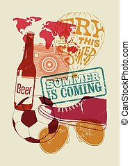 Summer is coming. Typographical retro grunge summer poster. Vector illustration.
