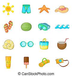 Summer items icons set, cartoon style
