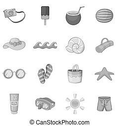 Summer items icons set, monochrome style