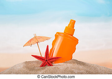 Summer items with lotion