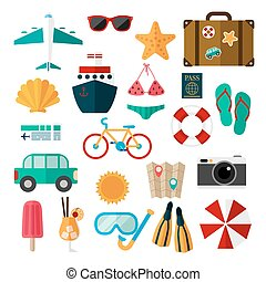 Summer journey. Set of elements for illustrations of vacation.