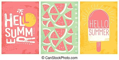 Summer joy creative artistic banners