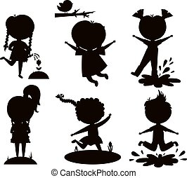 Summer kids vector illustration black silhouette - Many...