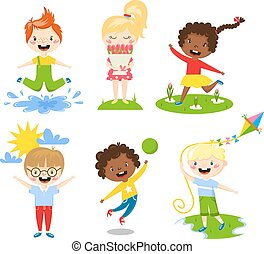 Summer kids vector illustration. - Many different summer...