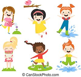 Summer kids vector illustration.