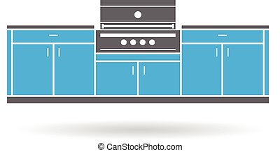 Summer kitchen with grill
