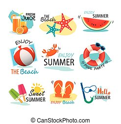 Summer label, banner, tag and elements background set. Vector illustrations for seasonal holiday.