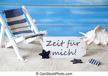Summer Label With Deck Chair, Zeit Fuer Mich Mean Time For...