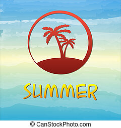 summer label with palms in circle