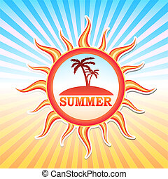 summer label with palms in sun and rays