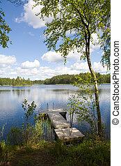 Summer Lake - Swimming pier at a lake in Finland