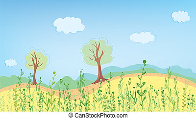 Summer landcape with grass and trees