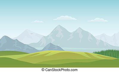 Summer landscape background. Vector - Summer landscape...