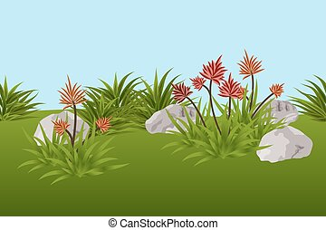 Summer landscape background with tropical flowers, leaves and stones