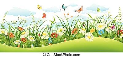Summer landscape banner