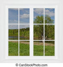 Summer landscape behind a window. 3D image