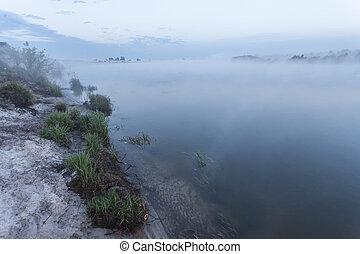 summer landscape dense fog in the oak grove near the river at dawn