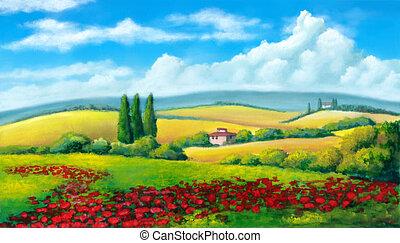 Summer landscape - Farmland in Tuscany, Italy. Original...