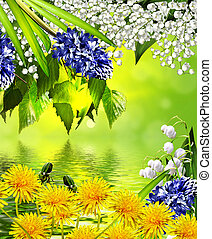 Summer landscape. floral background.