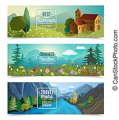 Summer landscape horizontal banners set - Best tours for...