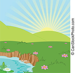 Summer landscape - Idyllic summer landscape with pound and ...