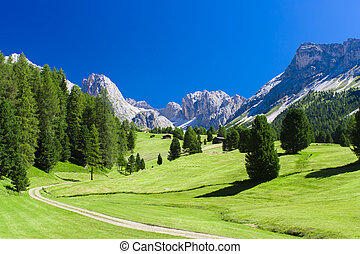 summer landscape in Dolomites mountains, Italy Alps
