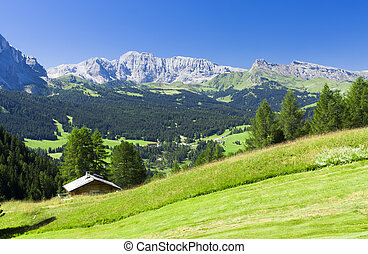 summer landscape in Dolomites mountains of Italy Alps