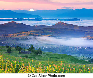 Summer landscape in the Carpathian mountains village....