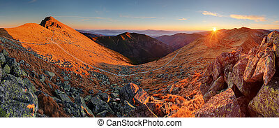 Summer landscape in the Low Tatra mountains in Sllovakia. Sunrise