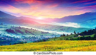 Summer landscape in the mountain village.