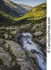 Summer landscape in the mountains of Karachay-Cherkessia -...
