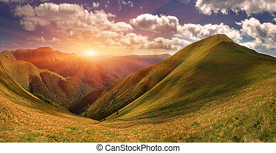Summer landscape in the mountains. Sunrise