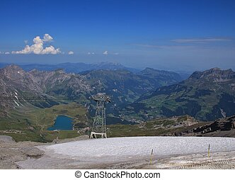 View from mount Titlis towards Engelberg - Summer landscape...