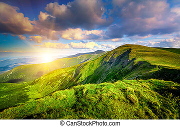 Summer landscape - Mountain sunset in the Carpathian...