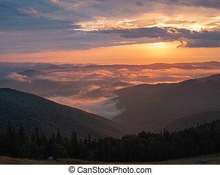 Summer landscape of Carpathians mountains, west Ukraine....