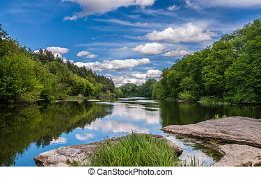 Summer landscape of the river.