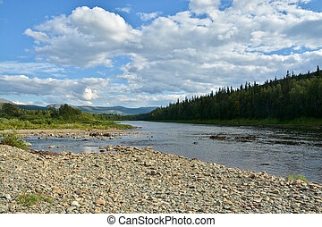 """Summer landscape of the taiga river in the Urals. """"Virgin Komi Forests"""" World Natural Heritage by UNESCO."""