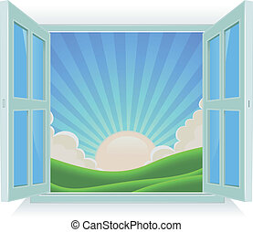Illustration of spring or summer sunrise landscape viewed by an open window