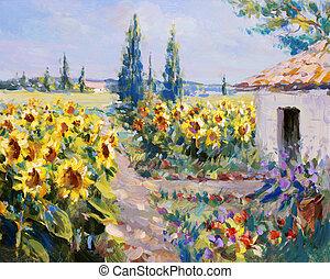 summer landscape painting - acrylic paints on hardboard