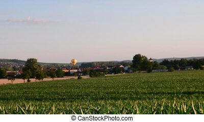 Summer landscape Panoramic view of maize field. Hot-air balloon goes downwards. Low DOF.